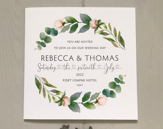 EUCALYPTUS Greenery Wedding INVITATION | Matching EVENING Invite | Textured card | Personalised Wording, Gifts, Rsvp, Menu, Timeline of Day