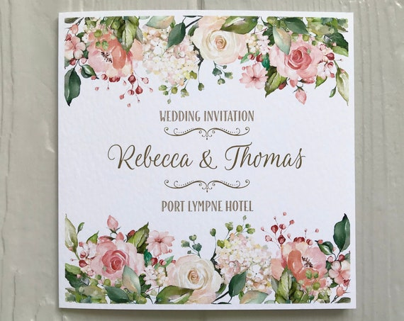 Peach Floral Greenery Wedding INVITATION | Matching EVENING Invite | Textured card | Personalised Wording Gifts, Rsvp, Menu, Timeline of Day