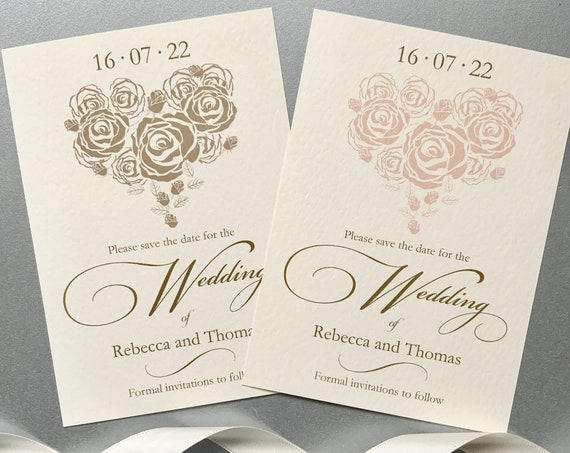 Wedding SAVE the DATE cards | Romantic Rose Hearts in Gold and Blush | IVORY textured card | Personalised with your Names & Date