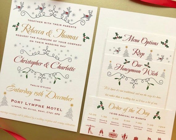CHRISTMAS Wedding Invitation | Pocket-fold, Gifts, Menu, Rsvp details | Save the Date | Evening Invites | Custom Wording | No Minimum Order