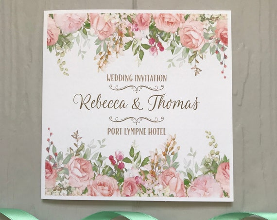 Wedding INVITATION | PEACH, Blush, Coral, Mint | Textured card | Personalised Wording for Gifts, Rsvp, Menu, Order of Day | Evening Invite