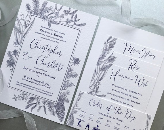 WINTER Wedding Invitation | Pocket-fold, Gifts, Menu, Rsvp details | Silver Blue Floral | Textured Card | Custom Wording | No Minimum Order