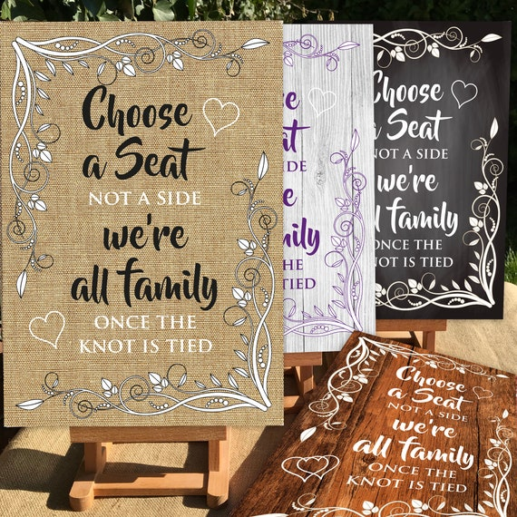 Rustic Wedding SIGNS | Choose a Seat Not a Side | PRINTED Wood, Chalk Board, Hessian Design or DIGITAL | A3 on Foam Board | Fast Delivery