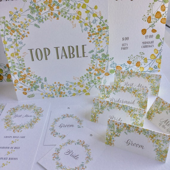 WEDDING place cards | PERSONALISED with guest name | Menu Choice | NAME Tags add ribbon | Table Name Cards | Yellow Floral design, gold type