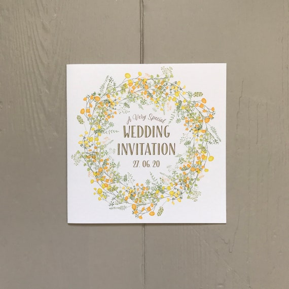 Summer WEDDING INVITATION | Yellow FLORAL | Gold lettering | Textured card and envelope | Include Gift List and Rsvp details | Free Delivery