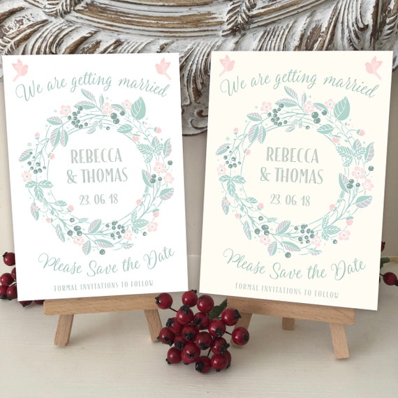 Wedding SAVE the DATE cards | Blush Pink & Shades of Green | Boho Floral WREATH | Printed on Ivory or White textured card | Free Delivery