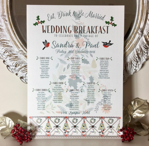 CHRISTMAS Themed Wedding TABLE Plan and Seating Chart | Eat, Drink and Be Married | PRINTED in four sizes or Digital | Fast Delivery