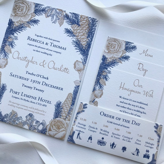 WINTER Wedding Invitation | POCKET-FOLD, Gifts, Menu, Rsvp | Gold and Blue Floral | Ivory or White Textured Card | No Minimum Order