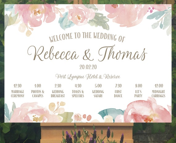 Floral Wedding WELCOME sign | Blush Pink Peonies | TIMELINE Order of Day with icons | PRINTED on Board, Poster or Digital | Fast Delivery