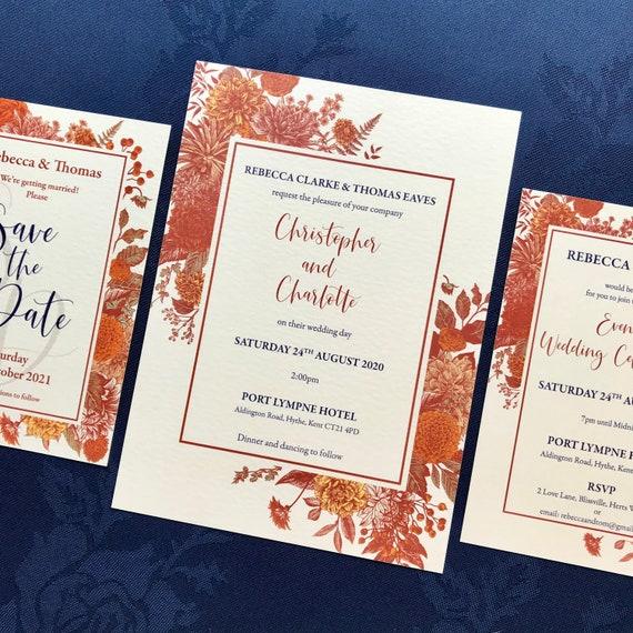 Wedding Invitation | Evening Invitation | Matching SAVE the DATE | Autumn Botanic Floral | Textured card | Kraft envelope | No Minimum Order