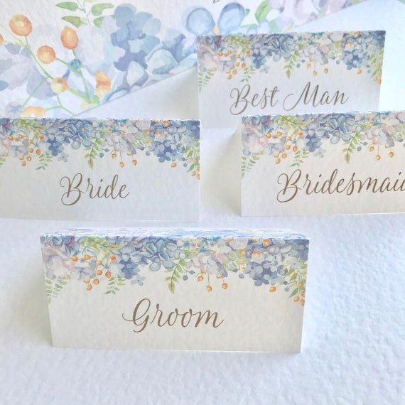 WEDDING place cards | PERSONALISED with guest name | Menu choice | NAME Tags | Pastel Blue Floral Watercolour design| Free Delivery