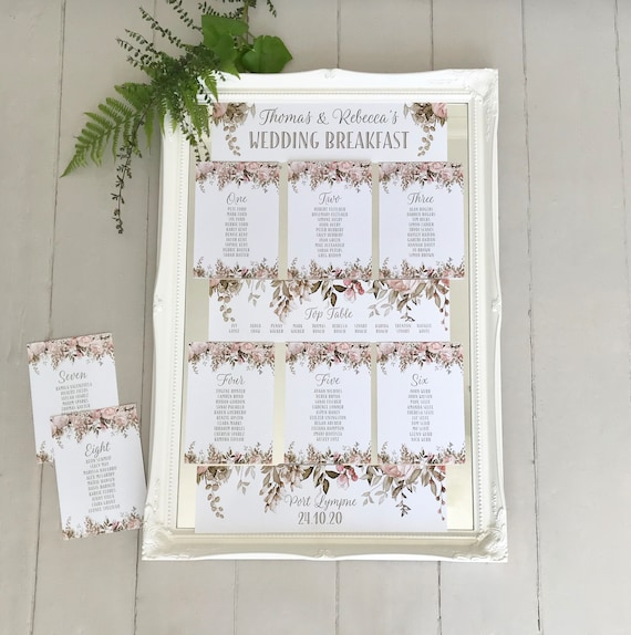 Wedding Seating Table Plan CARDS | Blush Caramel Floral Design | Attach to a MIRROR or hang from a FRAME | Easy to pack | On Ivory or White