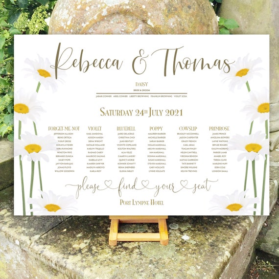 Summer Wedding TABLE Plan and SEATING Chart | Rustic Boho Daisy Design | PRINTED in three sizes or Digital Version | Fast Delivery