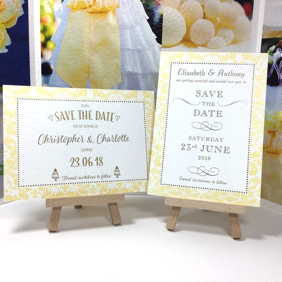 Elegant Wedding SAVE the DATE cards YELLOW border pattern | Dark gold lettering | Printed on white textured card | Free Delivery