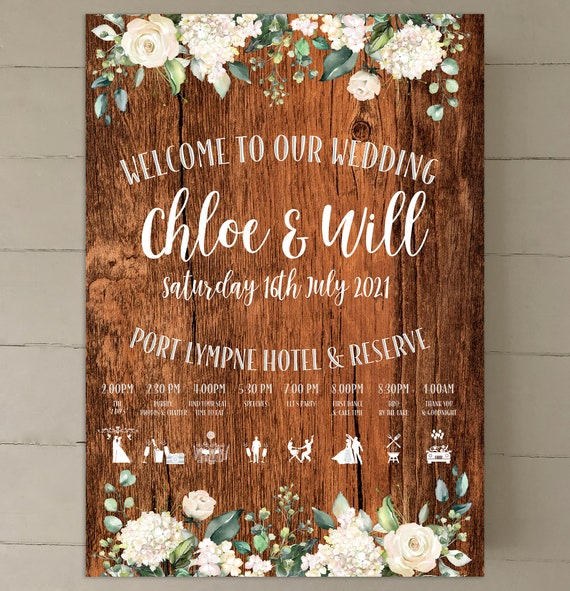 RUSTIC Wedding WELCOME sign | PRINTED on Board, Poster, Digital | Rich Brown or Oak Wood Background | Timeline with Icons | Fast Delivery