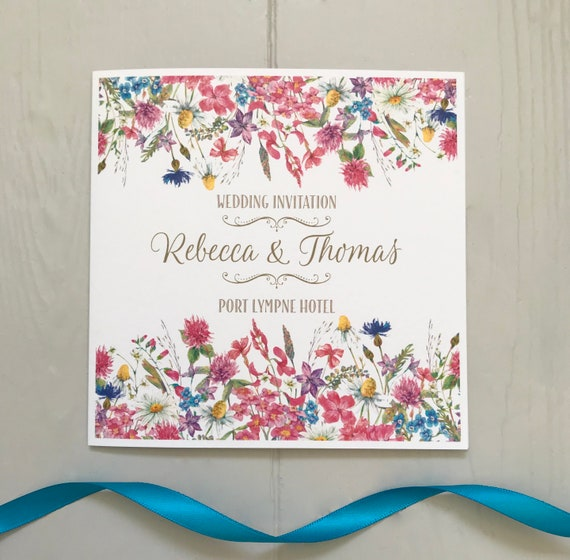 Wildflowers SUMMER Wedding INVITATION | Matching EVENING Invite | Textured card | Personalised Wording Gifts, Rsvp, Menu, Timeline of Day