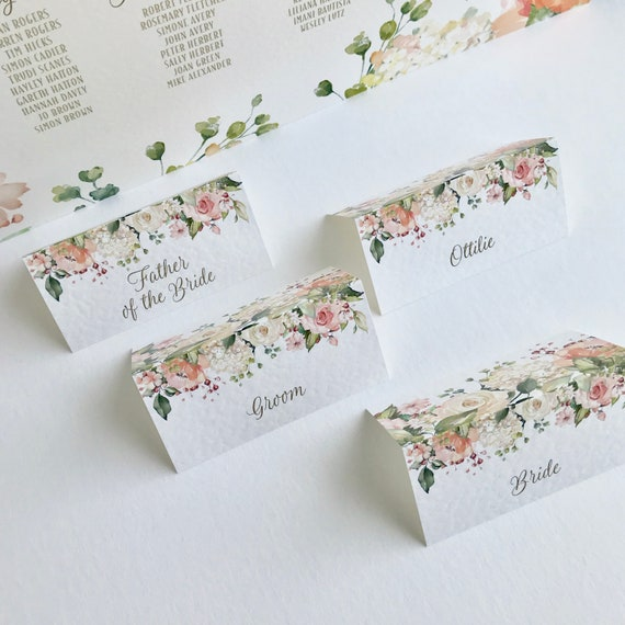 WEDDING place cards | PERSONALISED with guest name | Menu choice | NAME Tags | Table Menu | Peach and White Floral | White textured card