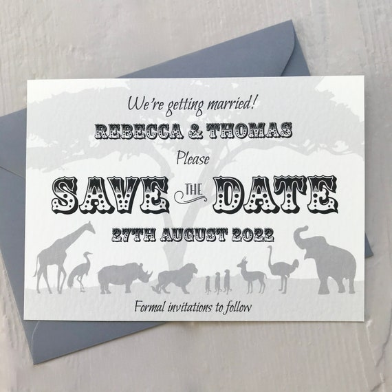 Safari Wedding SAVE the DATE cards | African Animals | Zoo Wedding | Pale Ivory Textured card | Grey or Ivory Envelopes | Free Delivery