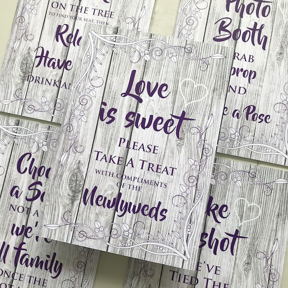 RUSTIC Wedding SIGNS   Take a Shot, Choose a Seat, Photo Booth, Love is Sweet, Tree   PRINTED White Wood or Digital   A3 on Foam Board