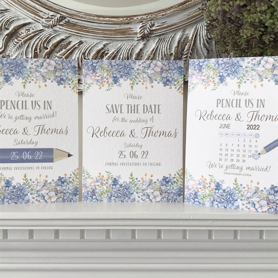 BLUE Floral Wedding SAVE the DATE cards | Pencil Us In | With Calendar | Pastel Blue with dark Gold type | Textured card | Free Delivery