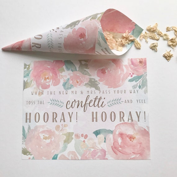 CONFETTI Cones Personalised with NAMES, ready rolled or roll yourself, floral watercolour PEONIES blush pink and gold design. Matching Sign
