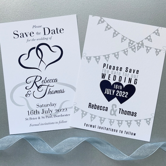 Wedding SAVE the DATE cards | Midnight Blue and Silver Grey | Romantic Hearts | Stylish Bunting | Textured Card | Silver or White Envelopes