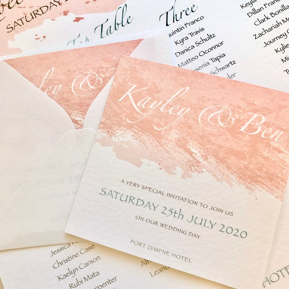 PEACH & MINT Wedding Invitation | Paint Brush Watercolour | Gold lettering | Textured card and envelope | Gift List and Rsvp | Free Delivery