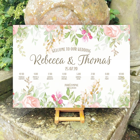 Floral Wedding WELCOME sign | Peach Coral Blush with Gold type| TIMELINE Order of Day | PRINTED on Board, Poster or Digital | Fast Delivery