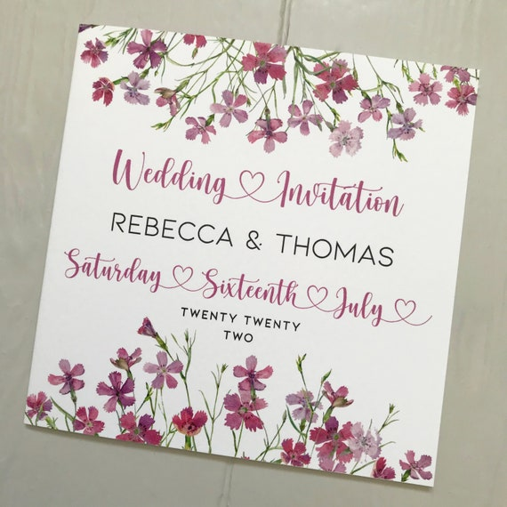 Wedding INVITATION | Pink /Lilac Floral | Matching EVENING Invite | Textured card | Personalised Wording, Gifts, Rsvp, Menu, Timeline of Day