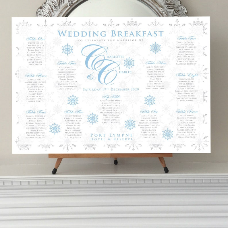 Winter Themed Wedding Table Plan And Seating Chart Ice Blue And Silver Snowflakes Printed In Four Sizes Or Digital Fast Delivery