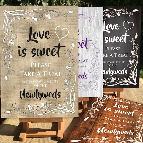 RUSTIC Wedding SIGNS | Love is Sweet, Take a Treat | PRINTED Wood, Chalkboard, Hessian Design or digital | A3 on Foam board | Fast Delivery