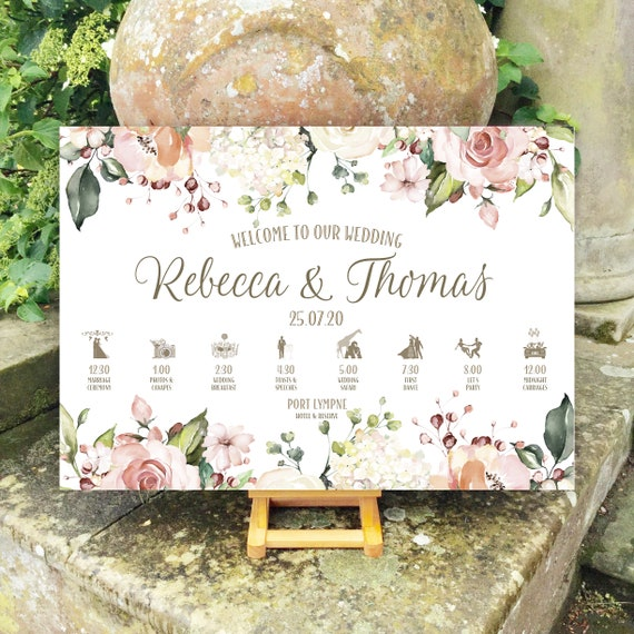Wedding WELCOME sign | Peach and White Floral Watercolour | TIMELINE Order of the Day | PRINTED on Board, Poster or Digital | Fast Delivery