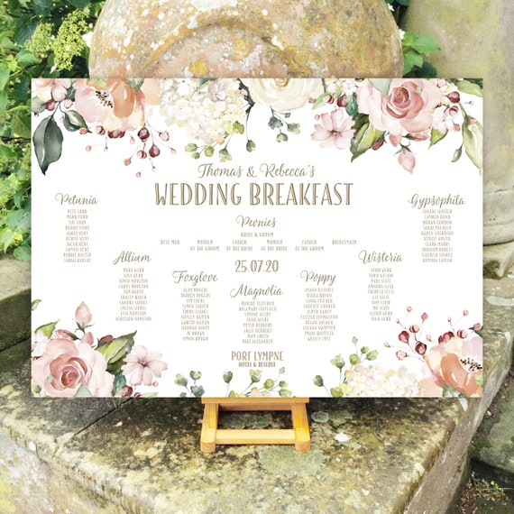 Floral Wedding TABLE Plan and SEATING Chart | Peach and White Roses and Hydrangea | PRINTED in three sizes or Digital | Fast Delivery
