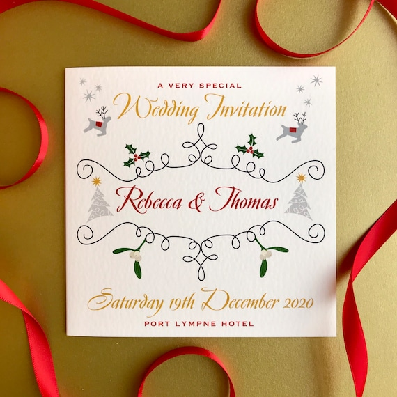 CHRISTMAS Wedding Invitation | With Gift and Rsvp details | Matching Save the Date and Evening Invites | Custom Wording | No Minimum Order