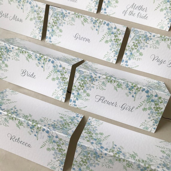 WEDDING place cards | PERSONALISED with guest name | Pastel Blue Floral Wreath | Menu Choice | NAME Tags | Table Name Cards | Table Menu