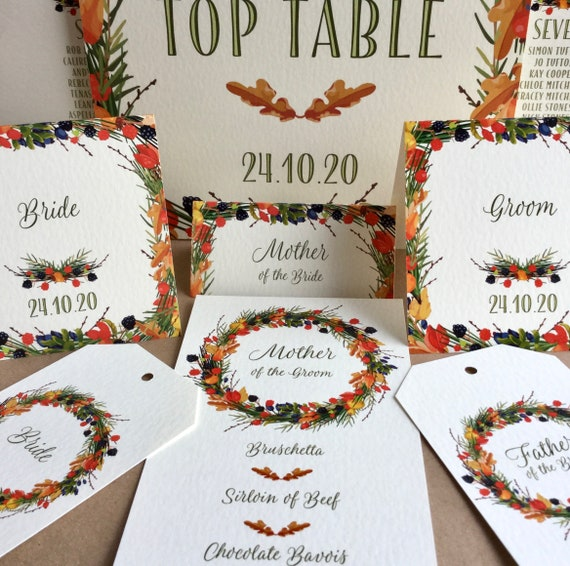 Autumn Wreath WEDDING place cards | PERSONALISED with guest name | Menu Choice | NAME Tags add ribbon | Table Name Cards | Free Delivery