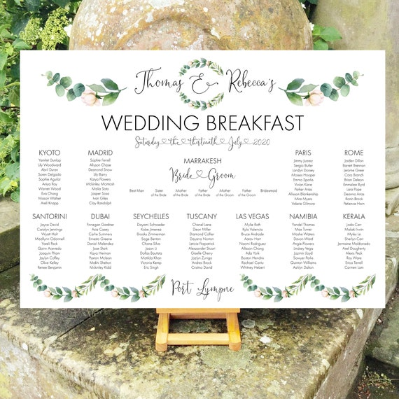 Wedding TABLE Plan and SEATING Chart Sign | Watercolour Eucalyptus Leaves | Black Type | PRINTED in three sizes or Digital | Fast Delivery