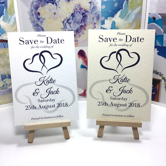 Wedding SAVE the DATE cards Romantic Hearts entwined in Midnight Blue and printed on Ivory or White textured card. Free Delivery