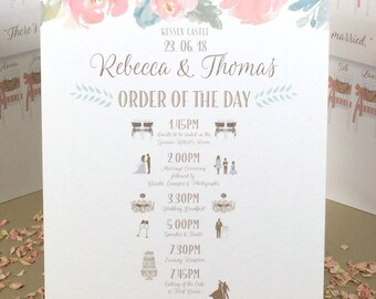 ORDER of the DAY Wedding Sign with cute ICONS fully customised 'ready to hang' or 'free standing'
