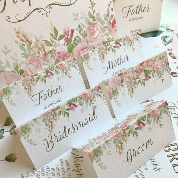 WEDDING place cards | PERSONALISED with guest name | Menu choice | NAME Tags | Table Name Cards | Floral Peach Coral Blush | Free Delivery