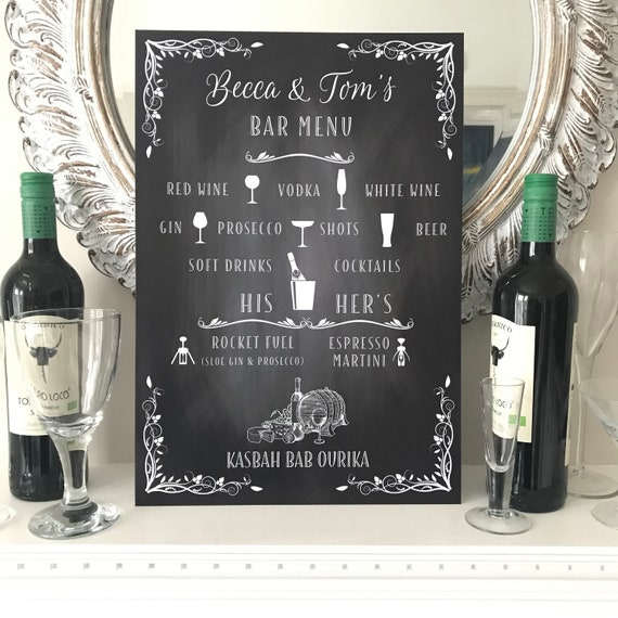 Wedding BAR sign   Chalkboard design PRINTED on Board, Poster or Digital Version   PERSONALISED with your Wording   Fast Delivery