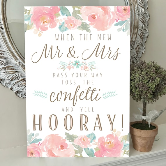 Wedding Sign TOSS the CONFETTI and yell HOORAY | Blush pink, mint, gold watercolour peonies design | Confetti Cones to match | Fast Delivery