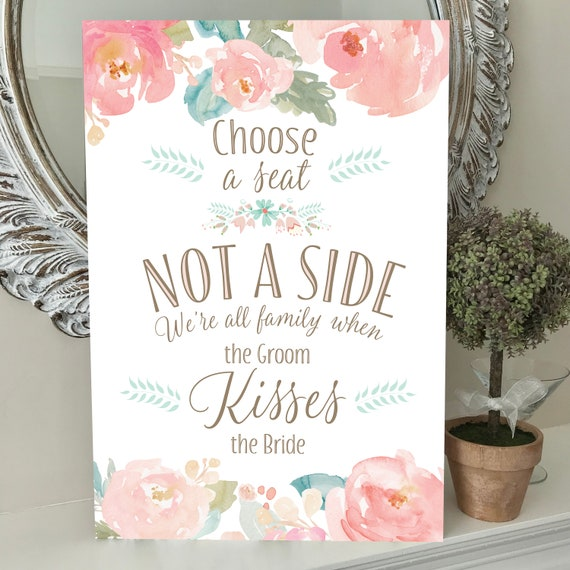 Wedding Seating SIGN   Choose a SEAT not a SIDE   Wedding Aisle Sign   Blush Pink Peonies   A3, A2 Printed or Digital   Fast Delivery