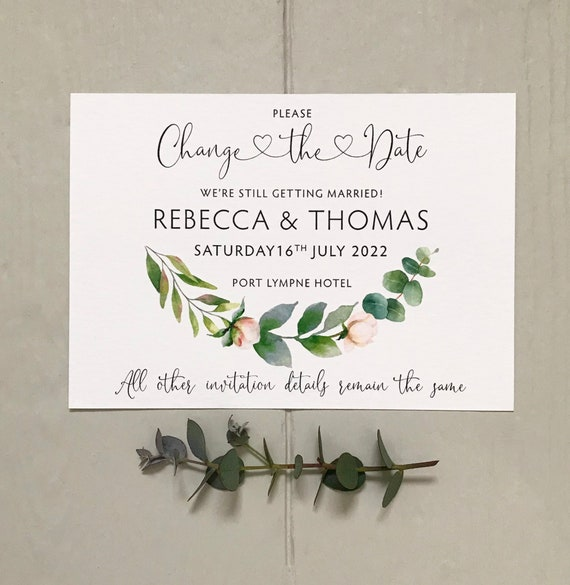Wedding CHANGE the DATE cards | Delay the Date Postponement Cards | EUCALYPTUS Greenery Design | Textured card and Envelopes | Fast Delivery