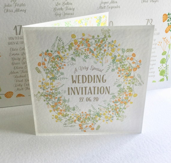 FLORAL Wedding Invitation SUMMER Yellow and Green, GOLD lettering, Textured card and ivory envelope, includes Gift List and Rsvp details
