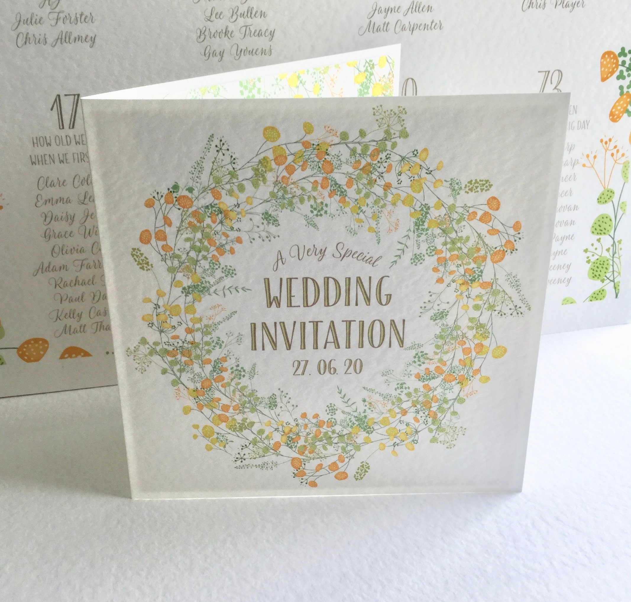Floral Wedding Invitation Summer Yellow And Green Gold Lettering