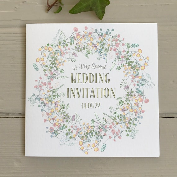 WEDDING INVITATION | PASTEL Floral Wreath | Textured card Kraft envelope | Personalised Wording for Gifts, Rsvp, Menu, Timeline of Day