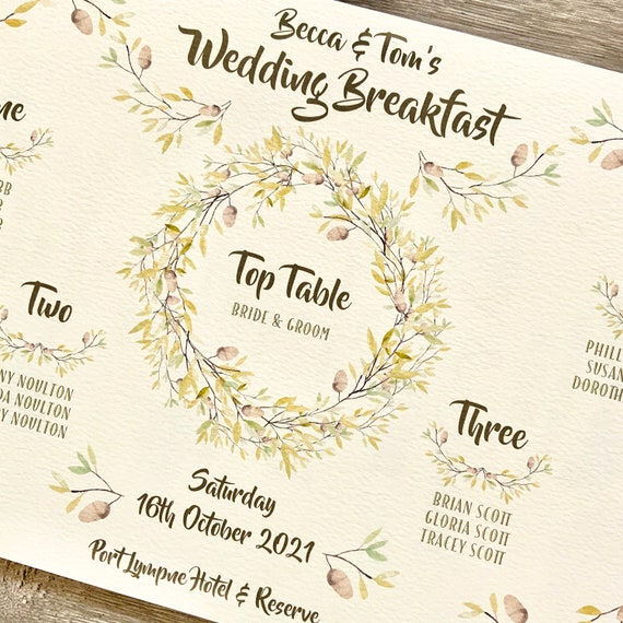 SMALL Autumn Wedding | TABLE Plan and SEATING Chart | A3 Print on Ivory Textured Card | Foam Board Backing | Fast Delivery