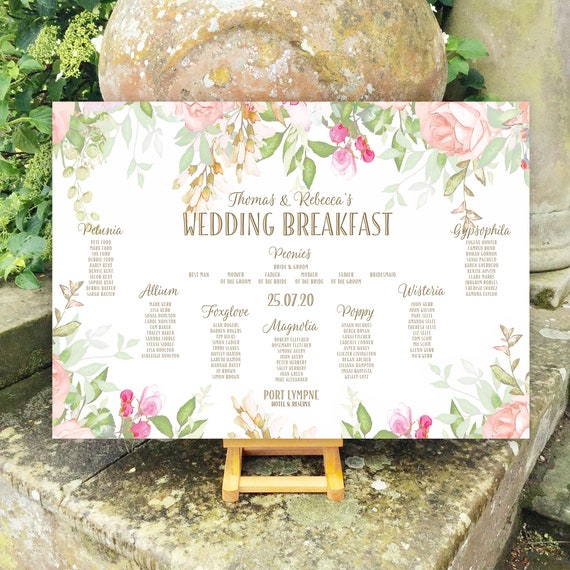 Summer Floral Wedding TABLE Plan and SEATING Chart | Peach Blush Coral Watercolour | PRINTED in three sizes or Digital | Fast Delivery