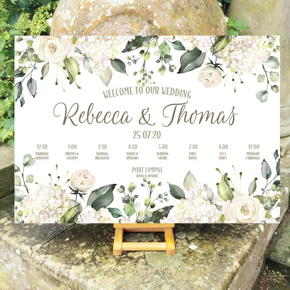 Wedding WELCOME sign | White Roses and Hydrangea Floral | TIMELINE Order of the Day | PRINTED on Board, Poster or Digital | Fast Delivery